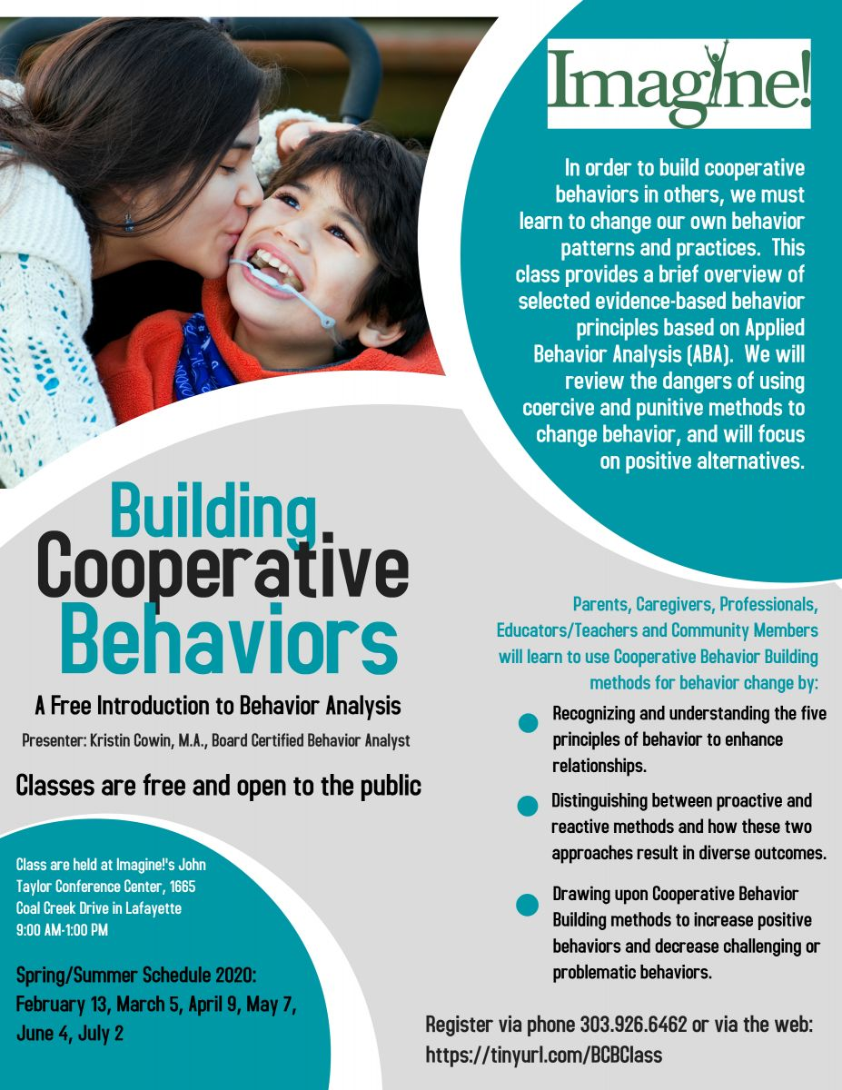In order to build cooperative behaviors in others, we must learn to change our own behavior patterns and practices.  This class provides a brief overview of selected evidence-based behavior principles based on Applied Behavior Analysis (ABA).  We will review the dangers of using coercive and punitive methods to change behavior, and will focus on positive alternatives.