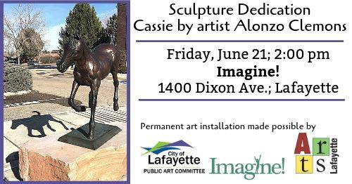 "After 13 years of looking for a permanent home, ""Cassie,"" a life-size horse sculpture, found a home on Imagine! property. Alonzo Clemons, who accepts services from Imagine!, created Cassie back in 2005. Earlier this year, the city of Lafayette, Colorado purchased the sculpture and chose the Imagine! administration building to display this wonderful art. A dedication ceremony featuring Alonzo and others close to this project will take place June 21. All are invited to 1400 Dixon Ave in Lafayette for the dedication and to see the masterpiece up close and personal!"
