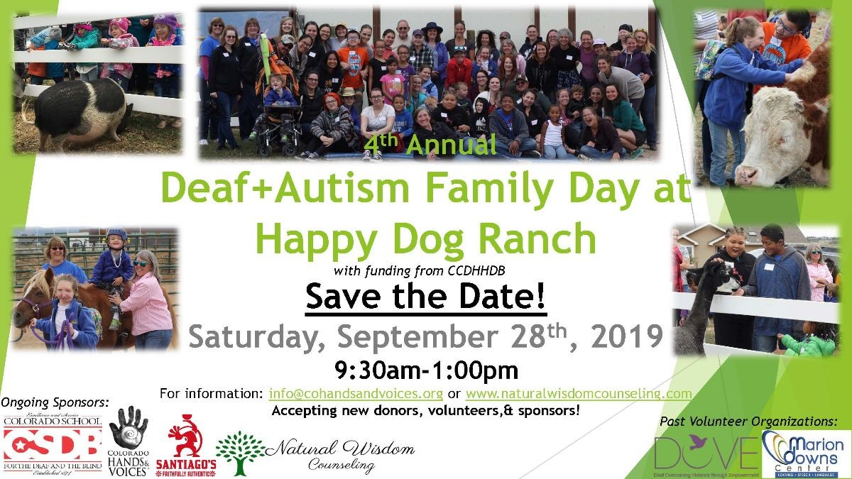 Save the date for the 4th Annual Deaf+Autism Family Day at Happy Dog Ranch! Saturday, September 28th, 2019 9:30am-1:00pm