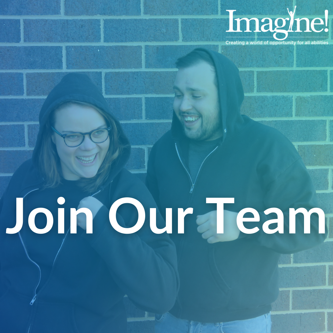 Two people smiling with text that says Join Our Team