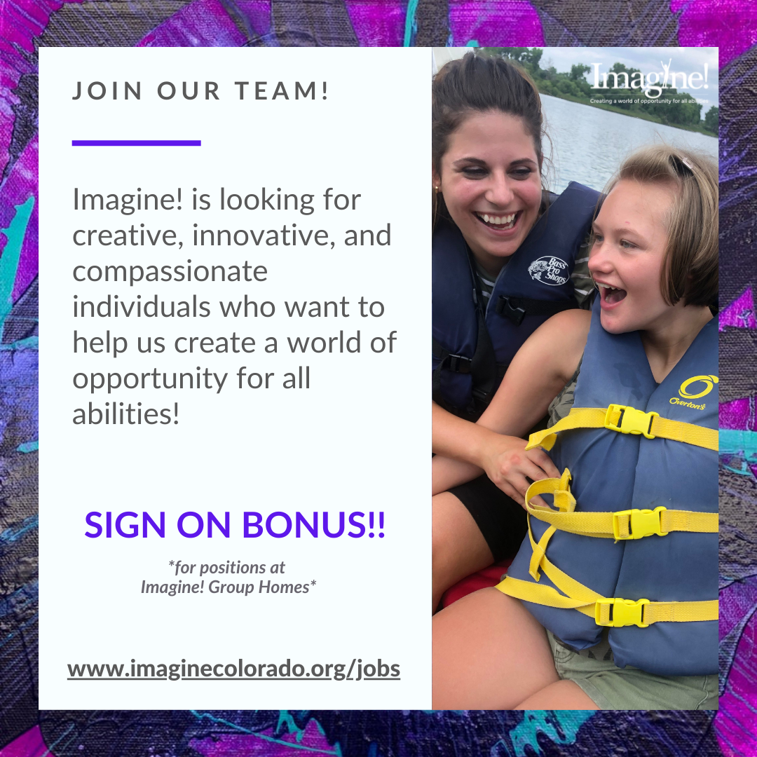 Staff and client smiling with text that says Join Our Team and Sign On Bonus
