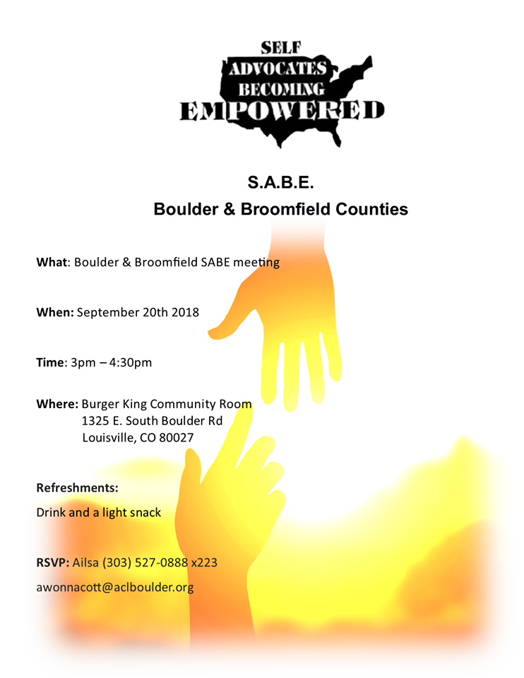 Boulder and Broomfield SABE Meeting. Light refreshments provided.