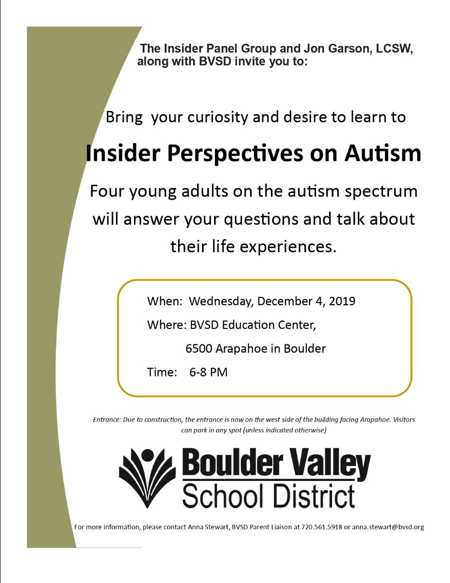 Four young adults on the autism spectrum will answer your questions and talk about their life experiences.