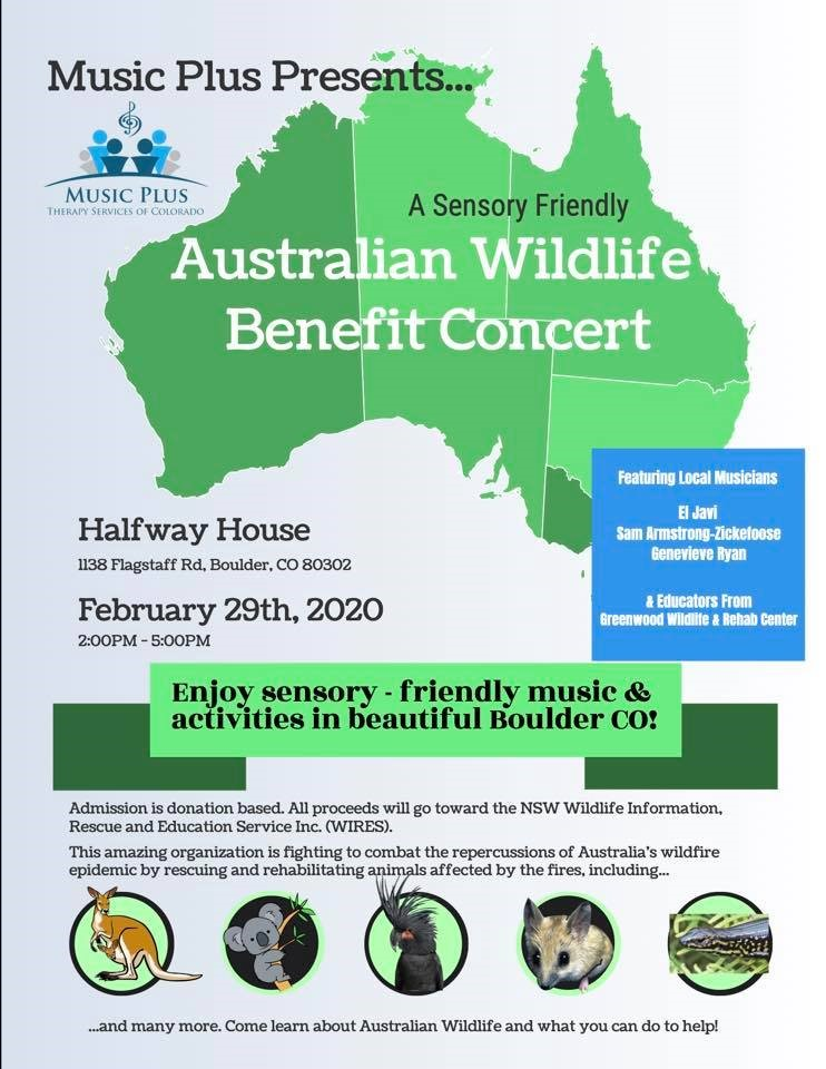 Music Plus Therapy Services of Colorado presenting a Sensory Friendly Australian Wildlife Benefit Concert Feb. 29